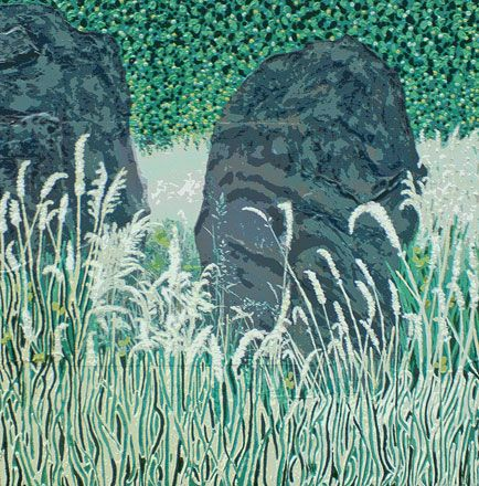 Painting in three lines - 2011<br /><br /><h6>Standing stones</h6>  Artist's photographic print and acrylic paint <br /> 600mm x 600mm <br /><br /><br /><br />Ancient standing stones<br/>